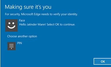 Win10 Edge浏览器生物识别