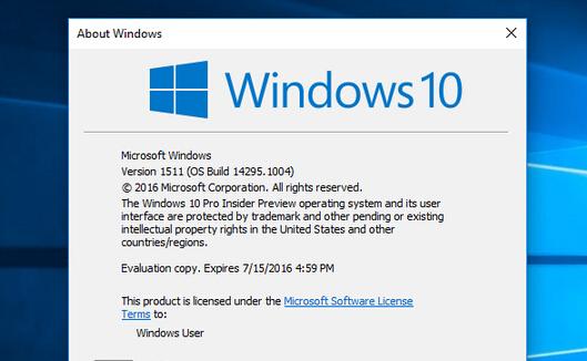 系统版本升至14295.1004