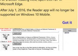 Edge浏览器接管!Win10 Mobile《PDF阅读器》将下线